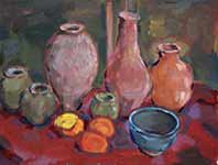 Artist's pots with oranges